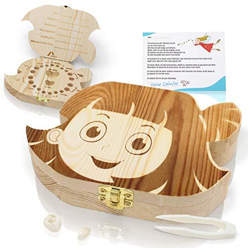 Amazy melktand doosje incl. pincet en tandenfeeënbrief – Schattig houten tandendoosje om de melktanden, dons en…
