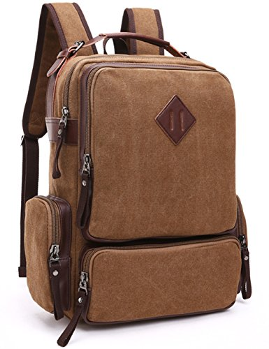 Price comparison product image Aidonger Unisex Vintage Canvas and Leather School bag Backpack (Coffee)