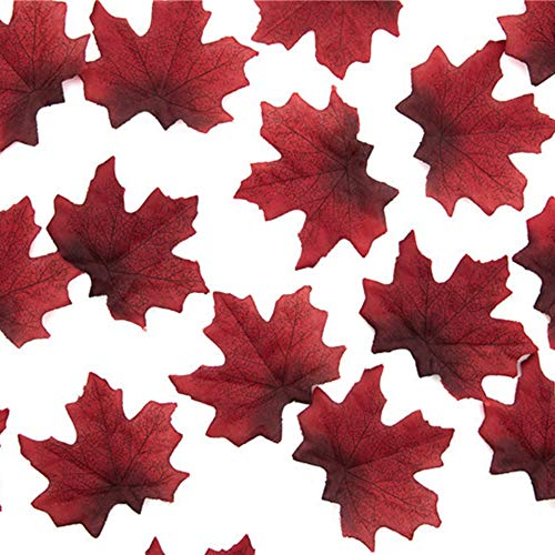 Leoie 8cm Delicate Fall Artificial Maple Leaves for Weddings Events Ornament Decoration Prop 50Pcs/Pack Wine -