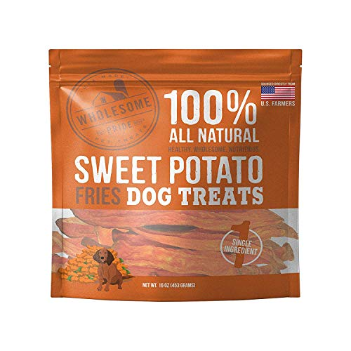 Wholesome Pride Sweet Potato Fries Dog Treats, Dehydrated, Made in The USA, Grain Free, Healthy Dog Chews, 16 oz