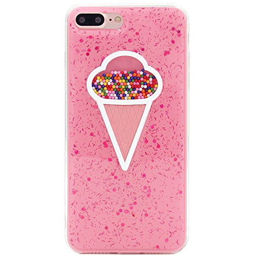 iPhone 7+ Case, iPhone 8+ Case, MC Fashion(TM) Cute Creative Glitter Ice Cream Cone Shape Candy Slim Soft and Protective Pink TPU Case for Apple iPhone 7 Plus (2016) and iPhone 8 Plus (2017)