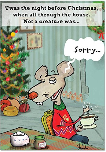 (12 'No More Stirring Mouse Boxed Christmas' Greeting Cards with Envelopes (4.75 x 6.625 Inch), Merry Xmas Note Cards Featuring Funny Mouse Stirring a Drink, Stationery Set for Kids and Adults B1805)