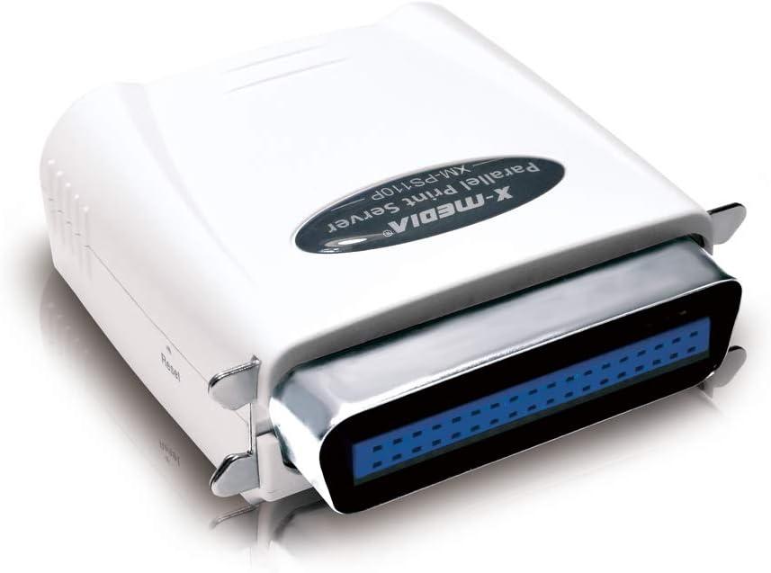 X-MEDIA 1-Port 10/100Mbps Fast Ethernet Parallel Print Server, Parallel Port Network Print Server [XM-PS110P]