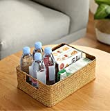 Seagrass Basket, WCIC Hand-woven Desktop Storage Container Natural Handmade Rectangular Bins For Condiment Cosmetic L 14.57''x9.84''x3.94''