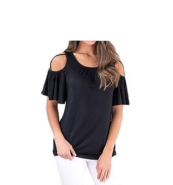 5a18e65a5ec JXJHK Round Neck Off-Shoulder Short-Sleeved Large Size Slim Blouse T ...