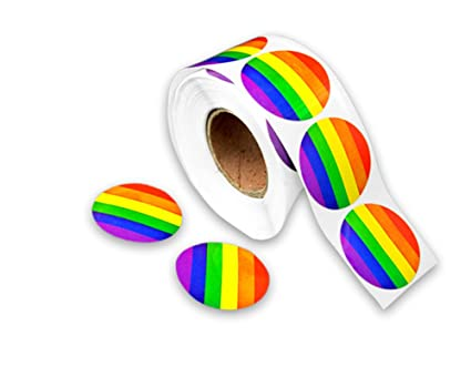 Gay pride rainbow stickers on a roll round shaped 500 stickers support