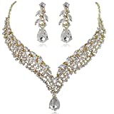 EVER FAITH Women's Austrian Crystal Decorative Leaf Teardrop Necklace Earrings Set Clear Gold-Tone
