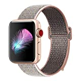 HILIMNY Compatible for Apple Watch Band 38mm, New Nylon Sport Loop, Adjustable Closure Wrist Strap, Replacement Band Compatible for iwatch Series 3 2 1(38mm, Pinksand)