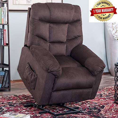 Harper&Bright Designs Power Lift Recliner Chair Upholstered Fabric with Remote Control for Living Room (Dark Brown)