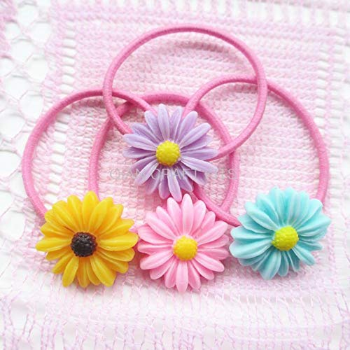 Dalab Set of 20pcs Handmade Jewelry Daisy Flower 26mm Ponytail Holder,Bracelet Elastic Hair Bands Hair Ring Headband in Gift Box