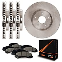 Front + Rear Premium OE Blank Rotors and Ceramic Pads Brake Kit KT052543 | Fits: 2006 06 Jeep Grand Cherokee; Non SRT-8 Models