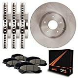 Front + Rear Premium OE Blank Rotors and Ceramic Pads Brake Kit KT054543 | Fits: 1998 98 1999 99 2000 00 Ford Contour; Non SVT Models