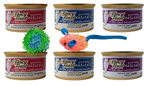 (Fancy Feast Gourmet Naturals Cat Food 3 Flavor Variety 6 Can with 2 Toys Bundle, 2 Each: Wild Alaskan Salmon Shrimp Gravy, Trout Tuna Pate, Beef Pate (3 Ounces))