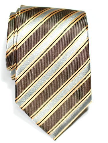 Brown Micro Stripe (Retreez Preppy Stripe Pattern Woven Microfiber Men's Tie Necktie - Brown and Grey)