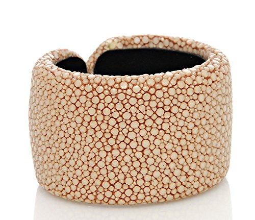 BOVARI Raie en cuir bracelet 40mm-Art Deco finition-Beige