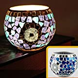 European Vintage Mosaic Glass Led Candle Holders Handmade Geometric Chip Bowl Candleholder Flameless Battery Glittery Silver Block Candlesticks Candle Lamps for Romantic Wedding Home Party Blue White