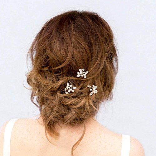 Venusvi Wedding Hair Pins Decorative Bridal Hair Accessories for Brides and Bridesmaids Pack of 3 Silver
