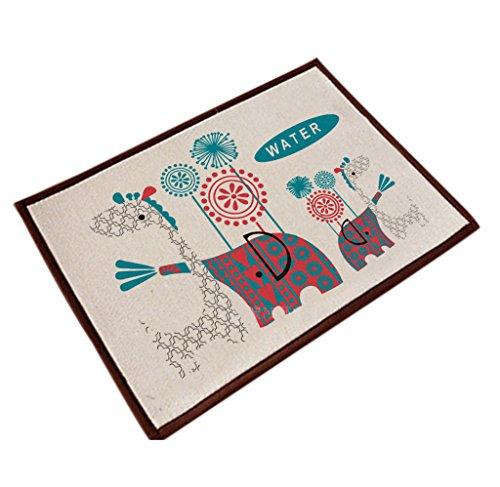 - ChezMax Cotton&Linen Zakka Non-slip Indoor Outdoor Hello Doormat Large Small Inside Outside Front Door Mat Carpet Floor Rug Elephant&Giraffe 16