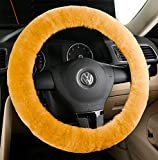 all aluminum steering wheel - Zento Deals Soft Stretchable Faux Sheepskin Beige Steering Wheel Cover Protector - A Must Have for All Car Owners for a More Comfortable Driving
