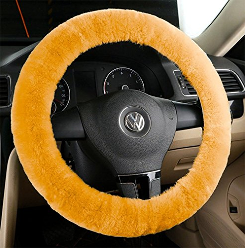 Zento Deals Soft Stretchable Faux Sheepskin Beige Steering Wheel Cover Protector - A Must Have for All Car Owners for a More Comfortable Driving