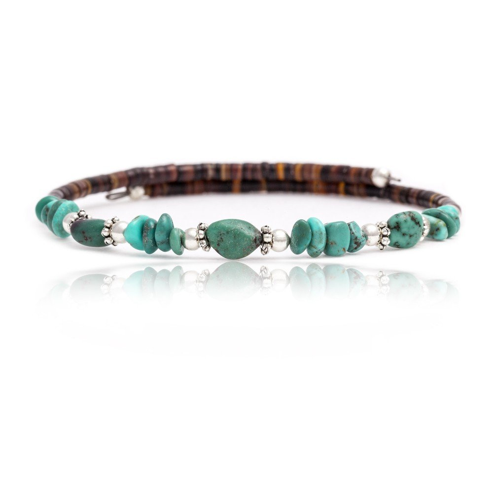 $80 Tag Certified Authentic Navajo Native American Natural Genuine Turquoise Adjustable WRAP Bracelet by Native-Bay