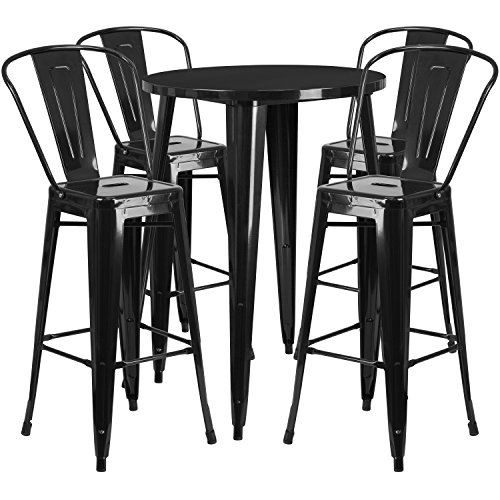 Flash Furniture 30'' Round Black Metal Indoor-Outdoor Bar Table Set with 4 Cafe Stools ()