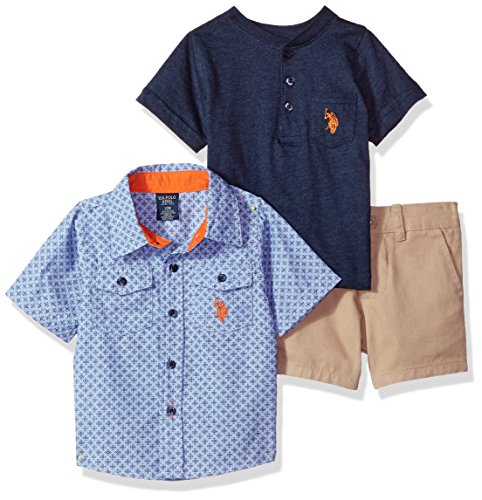 U.S. Polo Assn. Baby Boys Sleeve Shirt, T-Shirt and Short Set, Patterned Woven Solid Henley Khaki Short Multi Plaid, 18M