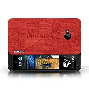 KOBALT? Protective Hard Back Phone Case / Cover for HTC One/1 M7 | Red Design | Nature Pattern Collection
