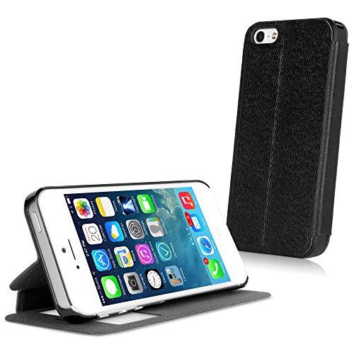 BoxWave SlimFlip Ständer Apple iPhone 5S Case (Jet Schwarz)