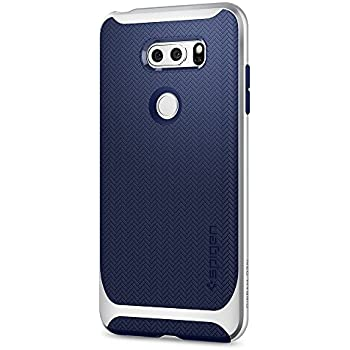 Spigen Neo Hybrid LG V30 Case Herringbone with Flexible Inner Protection and Reinforced Hard Bumper Frame for LG V30 (2017) - Satin Silver