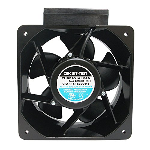 CIRCUIT-TEST 115VAC Industrial Cooling Fan 180 x 90mm- 460CFM with Screw Terminals, Ball Bearings, Die Cast Aluminum Frame