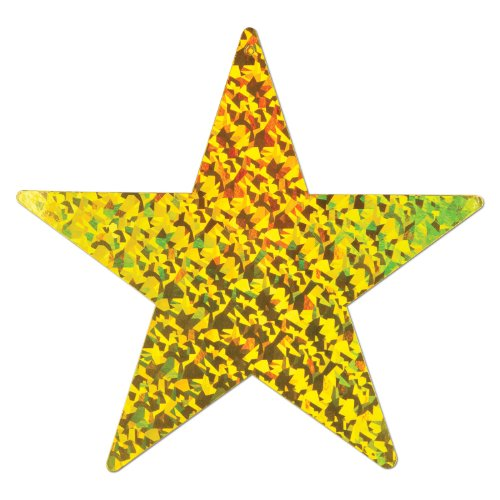 Beistle 57838-PGD 36-Piece Prismatic Foil Star Cutouts, 9-Inch
