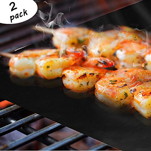 BBQ Grill Mat Non-stick Reusable High Temperature Resistance Grilling Pads FDA Approved, Heavy Duty and Easy to Clean Barbecue Mat - Set of 2