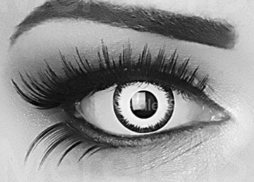 Meralens 1 Paar farbige weisse schwarze Lunatic Vampir Jahres Kontaktlinsen. Weiss mit schwarzem Rand 1 Paar Topqualität zu Fasching und Karneval mit gratis Kontaktlinsenbehälter ohne Stärke!