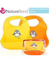 Waterproof Silicone Baby Bibs for Babies & Toddlers (2 PCs) | Free Waterproof Pouch | Wipes Clean Easily, Soft, Unisex, Adorable | Perfect Baby Shower Gift