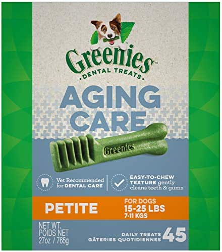 GREENIES Aging Care Petite Natural Dog Dental Care Chews Oral Health Dog Treats, 27 oz. Pack (45 Treats)