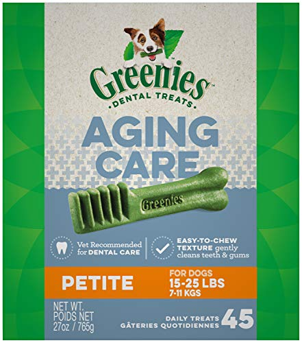 GREENIES Aging Care Petite Size Natural Dental Dog Treats, 27 oz. Pack