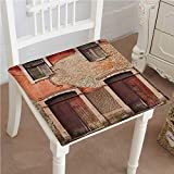 Mikihome Premium Comfort Seat Cushion Rustic Abandoned Facade with Wood Windows and Doors in Portugal Damage Cushion for Office Chair Car Seat Cushion 18''x18''x2pcs