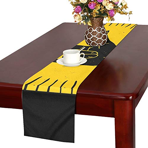 AIKENING Rock Hand Sign Silhouette Rays Table Runner, Kitchen Dining Table Runner 16 X 72 Inch for Dinner Parties, Events, Decor