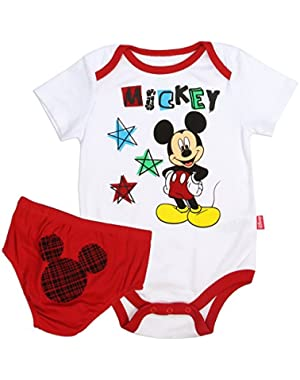 Mickey Mouse Infant Baby Boys Creeper and Diaper Cover 2 Piece Set