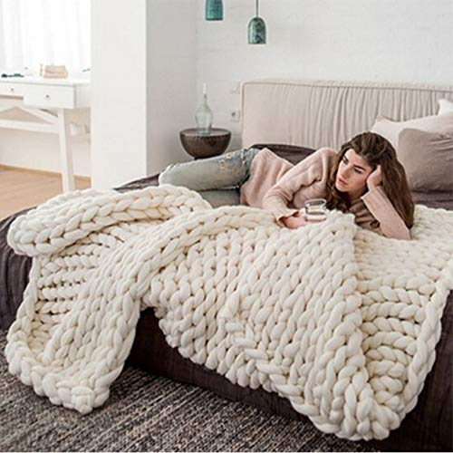 (Lovis.Q Solid Color Hand Chunky Knitted Blankets Thick Yarn Polyester Wool Bulky Knitting Throw Blankets)