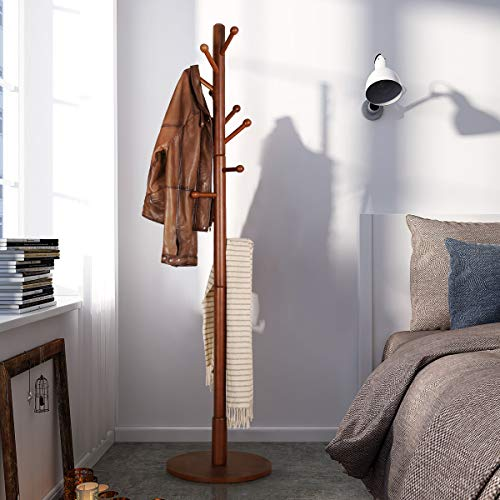 Vlush Sturdy Wooden Coat Rack Stand, Entryway Hall Tree Coat Tree with Solid Round Base for Hat,Clothes,Purse,Scarves,Handbags,Umbrella-Brown