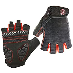 HuwaiH Bike Gloves Gel Pad Shock-absorbing | Anti-slip Outdoor Sports Riding Working Half Fingers Cycling Gloves Short Mountain Bicycle Motorcycle Gloves (Black Red, Large(Male))