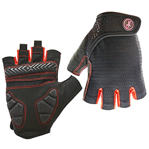 HuwaiH Bike Gloves Gel Pad Shock-absorbing | Anti-slip Outdoor Sports Riding Working Half Fingers Cycling Gloves Short Mountain Bicycle Motorcycle Gloves (Black Red, Medium(Famale))