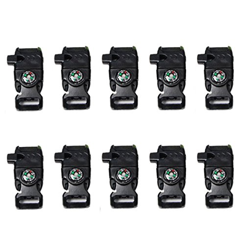 YEHAM 10 PCS Emergency Whistle Buckle come with Compass&Fire Starter&Flint Scraper for Outdoor Camping Paracord Bracelet (black) -