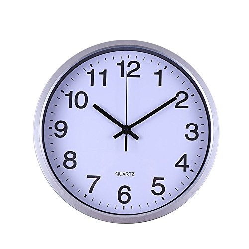 Price comparison product image wwffoo Round Wall Clock Silent Non Ticking 12Inch White Face Battery Operated Large Digital Display Decorative Easy to Read Modern Style Mute Creative Personality For bedroom office Indoor (Silver)