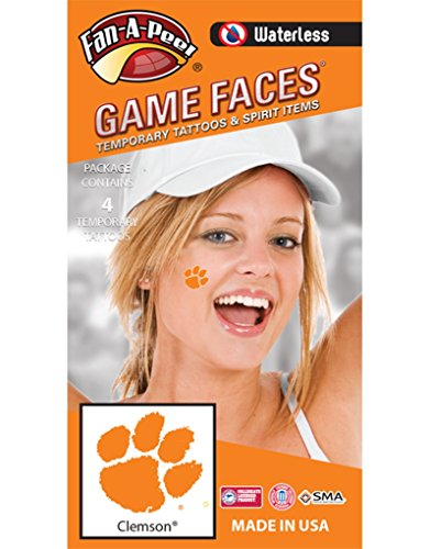 Spirit Tiger - Clemson University Tigers – Waterless Peel & Stick Temporary Spirit Tattoos – 4-Piece – Orange Tiger Paw Print Logo