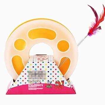 Juguetes para Gatos interactivos, Solo diversión Capa Resorte de Placa giratoria Juguete de Gato y la Bola de Campana (Amarillo): Amazon.es: Productos para ...