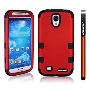 CowCool Samsung 9500 Galaxy S4 Case Hard Pc Double Color 3in1 Hybrid High Impact Protective Case For Samsung 9500 Galaxy S4(Red with Black)
