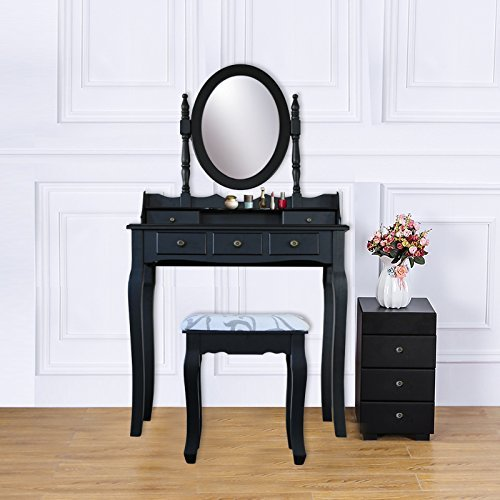 Y&K Decor Wood Vanity Table Set Dressing Table with Cushioned Stool Vanity Makeup Table Black (Five Drawers) by Y&K Decor